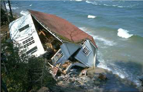 Example of high water damage in 1986 along the southern shores of Lake Michigan.