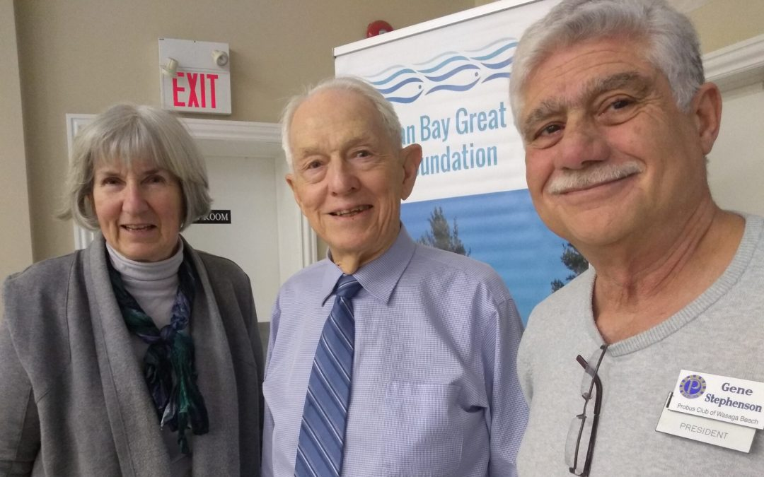 Georgian Bay Great Lakes Foundation chair Mary Muter and vice-chair Roy Schatz with Wasaga Beach Men's Probus Club president Gene Stephenson. -Kate Harries photo
